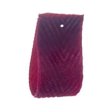 Dark Amaryllis Velvet Herringbone Ribbon 36 mm