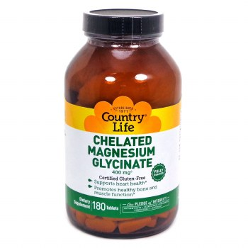 Country Life Chelated Magnesium 400 mg, 180 tablets