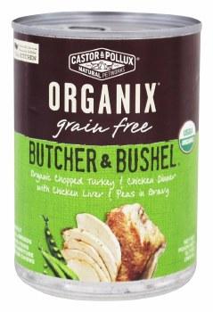 Castor & Pollux Butcher & Bushel Orgainc Chopped Turkey & Chicken Dinner with Chicken Liver & Peas in Gravy, 12.7 oz.