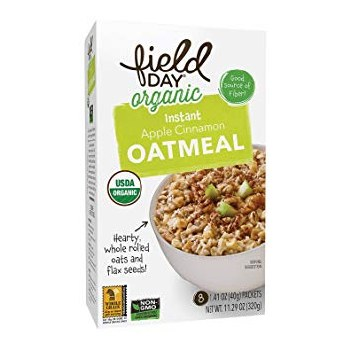 Field Day Organic Instant Apple Cinnamon Oatmeal, 8 packets