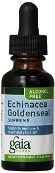 Gaia Herbs Alcohol Free Echinacea Goldenseal Supreme Liquid Herbal Extract, 1 oz.