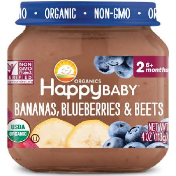 Happy Baby Bananas, Blueberries & Beets Baby Food, 4 oz.