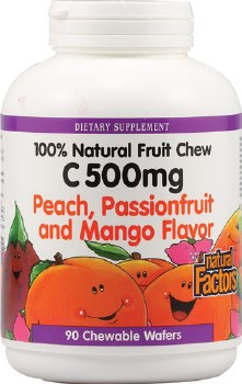 Natural Factors Vitamin C Peach, Passionfruit and Mango Chews, 500mg, 90 wafers