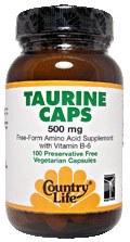 Country Life Taurine 500 milligrams 100 vegetarian capsules