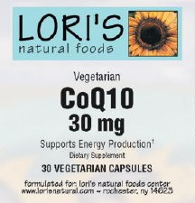 Lori's CoQ10 30mg 30 capsules