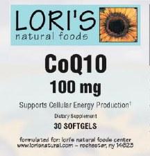 Lori's CoQ10 100mg 30 soft-gels