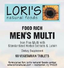 Lori's Food Rich Mens Multi 90 vegetarian tablets