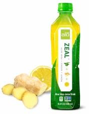 Alo Zeal Aloe Vera + Ginger + Lemon Drink, 16.9 oz.