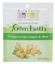 Aura Cacia Invigorating Ginger & Mint Aromatherapy Foam Bath, 2.5 oz.