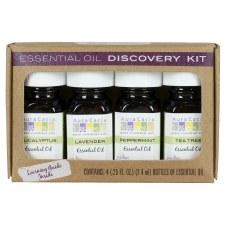 Aura Cacia Essential Oil Discovery Kit, four .25 fl. oz. bottles