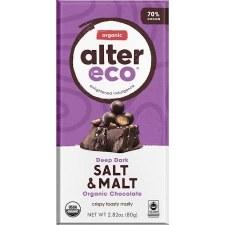 Alter Ego Organic Salt & Malt Chocolate Bar, 2.82 oz.