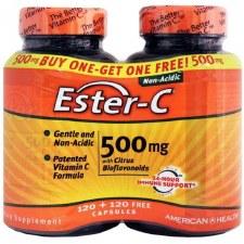 American Health Ester-c 500mg with Citrus Bioflavonoids, 120 + 120 free capsules