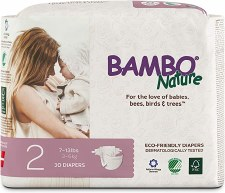Bambo Nature Size 2 Eco-Friendly Diapers, 30 diapers