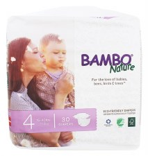 Bambo Nature Size 4 Eco-Friendly Diapers, 30 diapers