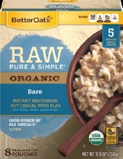 Better Oats Raw Pure & Simple Organic Bare Instant Multigrain Hot Cereal with Flax, 8 single serve pouches, net weight 11.8 oz.