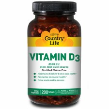 Country Life Vitamin D3 2500 IU, 200 soft gels