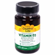 Country Life Vitamin D3 10,000 IU, 60 soft gels