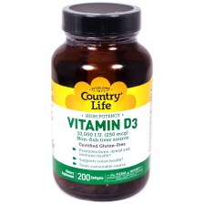 Country Life Vitamin D3 10,000 IU, 200 soft gels