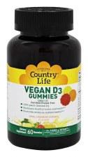 Country Life Vegan D3 Gummies Lemon, Strawberry & Orange Flavors, 60 gummies