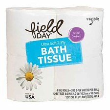 Field Day Organic Ultra Soft 2-ply Bath Tissue, 4 rolls, 286 2-ply sheets per roll