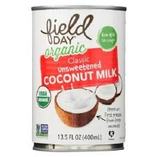 Field Day Organic Classic Unsweetened Coconut Milk, 13.5 oz.