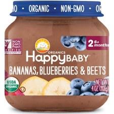 Happy Baby Bananas, Blueberries & Beets Baby Food, 4 oz.