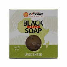 Inesscents Unscented African Black Soap, 4 oz.