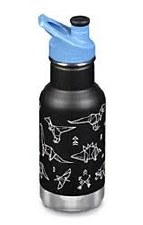 Klean Kanteen Classic Vacuum Bottle with Dinosaur Design and Sport Cap, 12 oz.