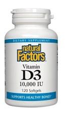 Natural Factors Vitamin D3 10,000 IU, 120 soft gels