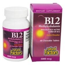 Natural Factors B12 Methylcobalamin 5000 mcg, 60 tablets