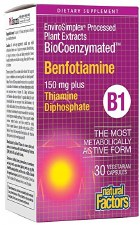 Natural Factors BioCoenzymated Benfotiamine, 30 vegetarian capsules