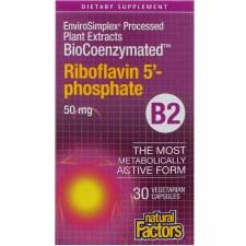 Natural Factors BioCoenzymated Riboflavin 5' - phosphate B2, 30 vegetarian capsules
