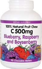Natural Factors Vitamin C Blueberry, Raspberry and Boysenberry Chews, 500mg, 90 wafers