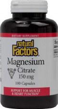 Natural Factors Magnesium Citrate, 150mg, 180 capsules