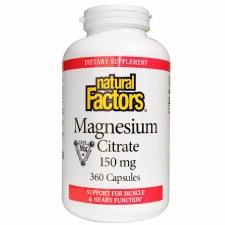 Natural Factors Magnesium Citrate 150mg, 360 capsules