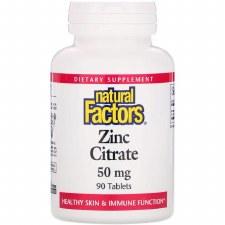 Natural Factors Zinc Citrate 50 mg, 90 tablets