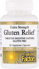 Natural Factors Extra Strength Gluten Relief, 30 vegetarian capsules