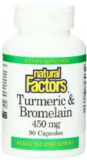 Natural Factors Tumeric and Bromelain, 450mg, 90 capsules