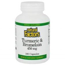 Natural Factors Tumeric and Bromelain, 450mg, 180 capsules