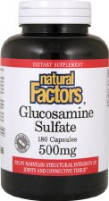 Natural Factors Glucosamine Sulfate, 500mg, 180 capsules