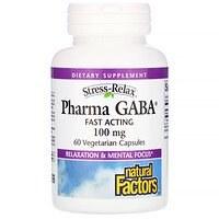 Natural Factors Stress-Relax Pharma GABA, 250 mg, 60 vegetarian capsules