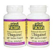 Natural Factors Ubiquinol 100mg 30 softgels, Bonus Pack
