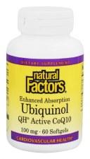 Natural Factors Ubiquinol Active CoQ10 100mg, 60 soft gels