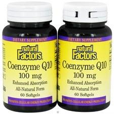Natural Factors Coenzyme Q10, 100 mg 60 softgels, Bonus Pack