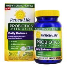 Renew Life Daily Balance Probiotics and Organic Prebiotics, 60 vegetarian capsules