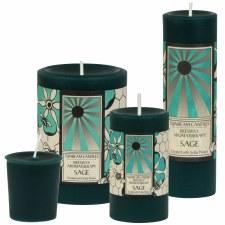 "Sunbeam Sage Aroma Pillar Candle, 6"""