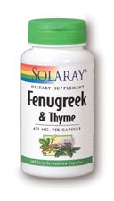 Solaray Fenugreek and Thyme, 100 capsules