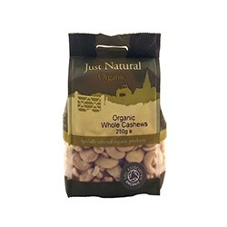 Just Natural Organic Org Cashews Whole 250g