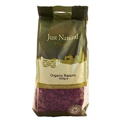 Just Natural Organic Org Raisins 500g