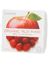 Clearspring Fruit Puree Apple/Cranberry 2 X 100g